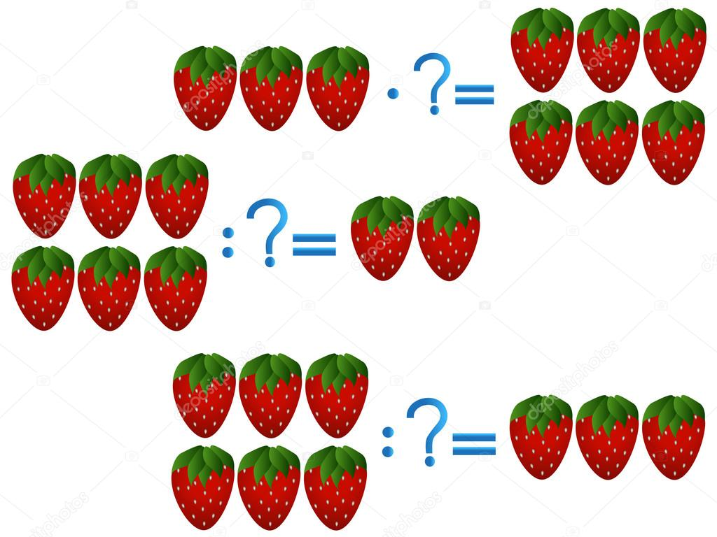 Action relationship of division and multiplication, examples with strawberry.