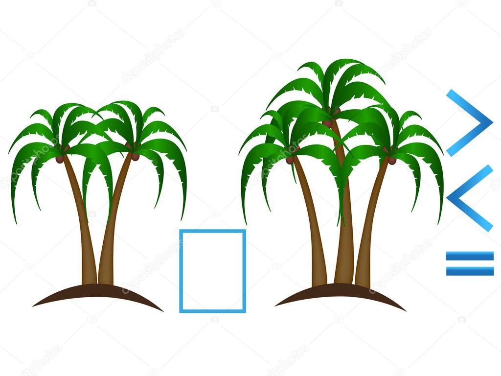 Educational game for children, comparison of the number of palm trees.