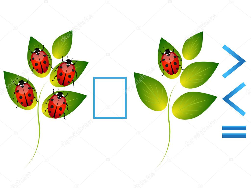 Educational game for children, comparison of the number of ladybugs on leaves.