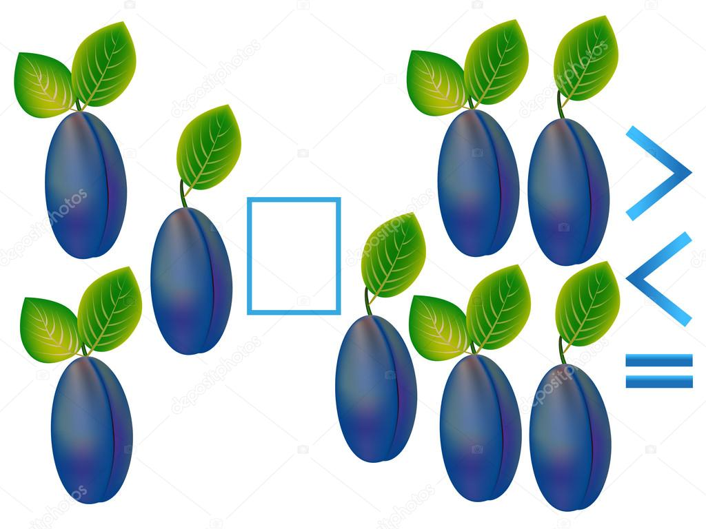 Educational game for children, comparison of the number of plums.