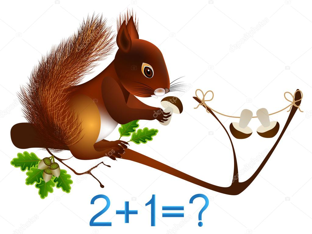 Mathematical addition, formation number three, educational games for children.