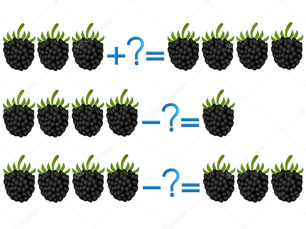 Action relationship of addition and subtraction, examples with blackberry.