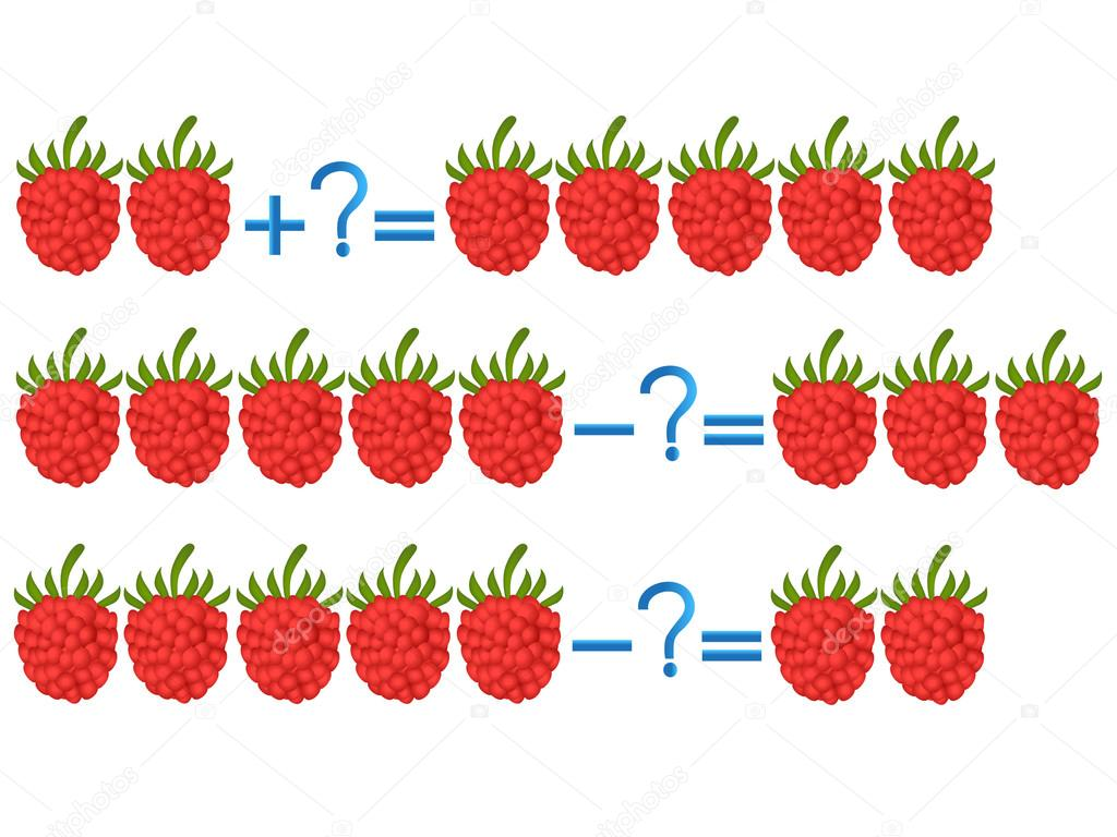 Action relationship of addition and subtraction, examples with raspberry.
