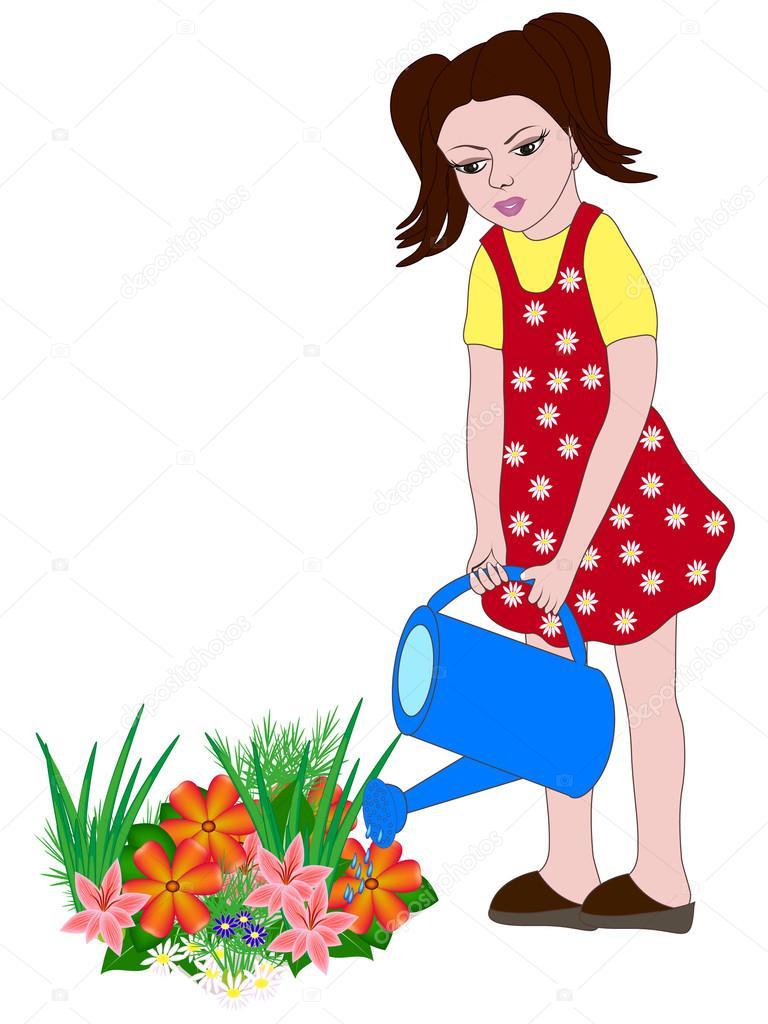 Дети поливают цветы картинки для детей, надписи
