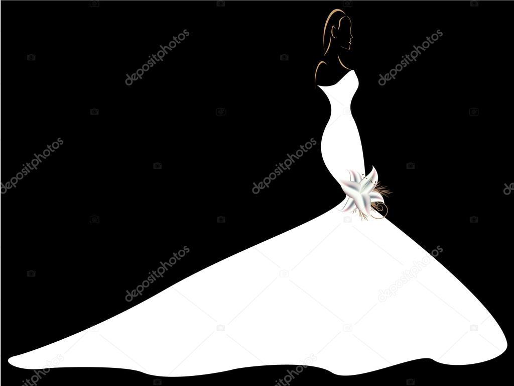 Silhouette of a girl in a wedding dress with a lily. — Stock Vector ...