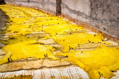 Leather drying in the sun in a tannery in Fez, Morocco