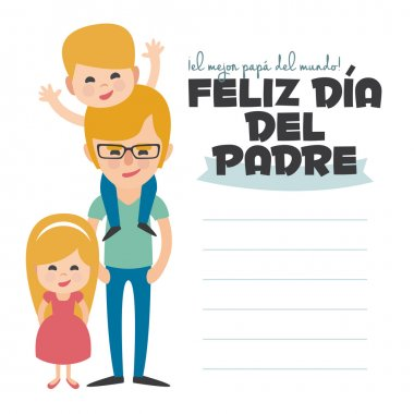 Happy Fathers day card. Vector Element Set. Blond Dad with sons. Written in spanish