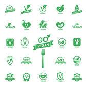 Set 24 Icons Vegan food, set of badges, emblems and stamps vector