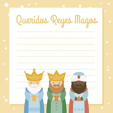 the three kings of orient. vectorized letter on a yellow background