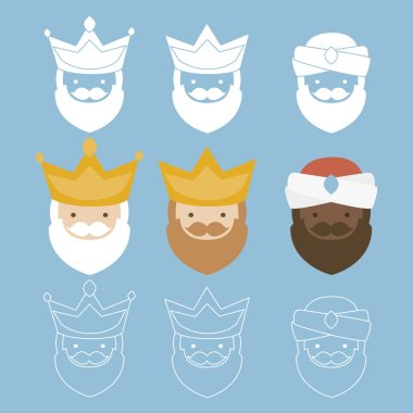 The three kings of orient. 3 magi icons vector set
