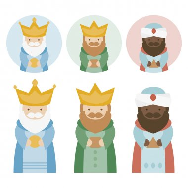 the three kings of orient on a white background. 3 Magi