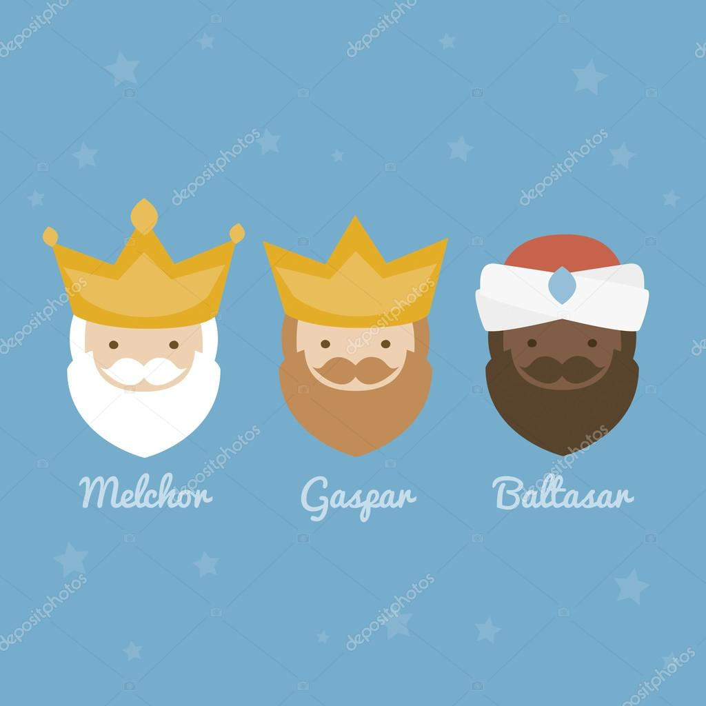The three Kings of Orient, wise men, 3 magi icons vector set
