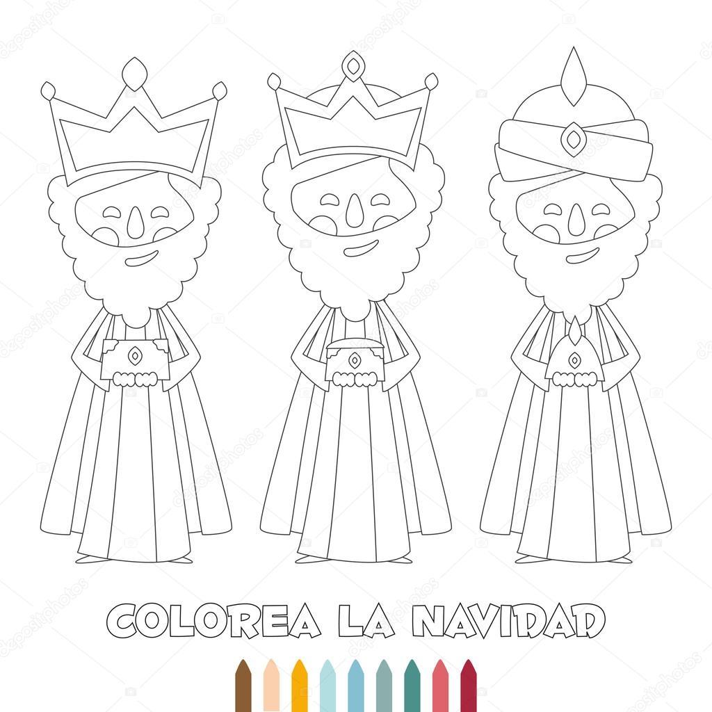 Esquema Monocromo De Navidad Tres Reyes Magos Para Colorear Vector