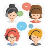 Fényképek Call center operátor headset web ikon design. Női call center avatar készlet. Ügyfél szolgáltatásokat és a kommunikáció, ügyfélszolgálat, telefon támogatás, információk, megoldások. Vektor