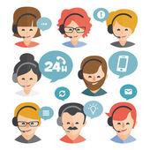 Fényképek Call center operátor headset web ikon design. Call center avatar készlet. Ügyfél szolgáltatásokat és a kommunikáció, ügyfélszolgálat, telefon támogatás, információk, megoldások. Vektor