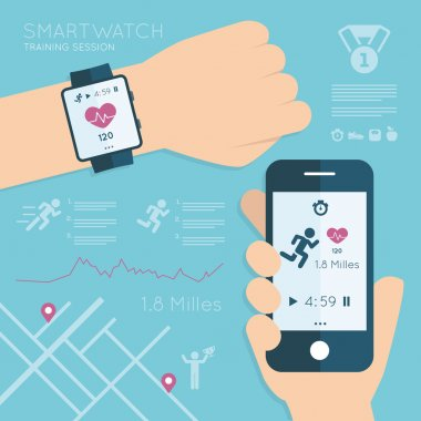 Wearable. Vector running app on the screen of mobile phone and smartwatch. Modern technology equipment for monitoring the health - illustration in flat style
