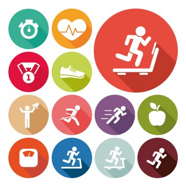 running and healthy lifestyle set flat icons