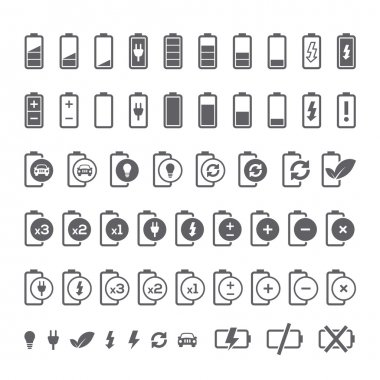 Icon set of battery charge level indicators for interface. Vector illustration.