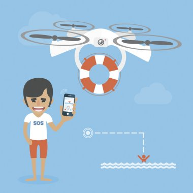 Life guard is flying a drone with the lifebuoy. Help concept