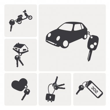 different keys set icons. rent a car, rent a a motorbike, hotel key, padlock key...