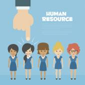 Fotografie Vector Recruitment concept, human resources concept - hand holding man icon
