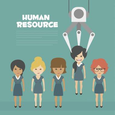 Vector Recruitment concept, human resources concept - Recruitment claw conveyor personal