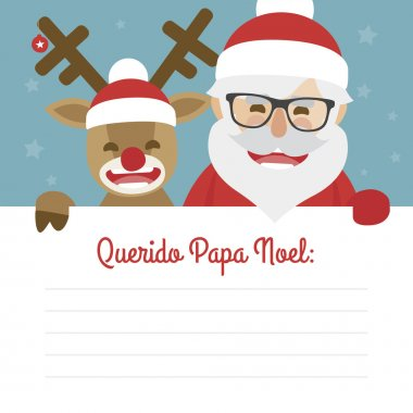 Letter merry christmas illustration of santa claus and red nosed reindeer on blue background. dear santa claus written in Spanish