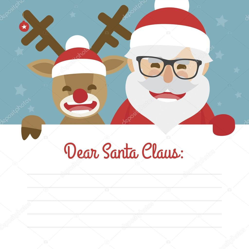 Letter Merry Christmas Illustration Of Santa Claus And Red Nosed