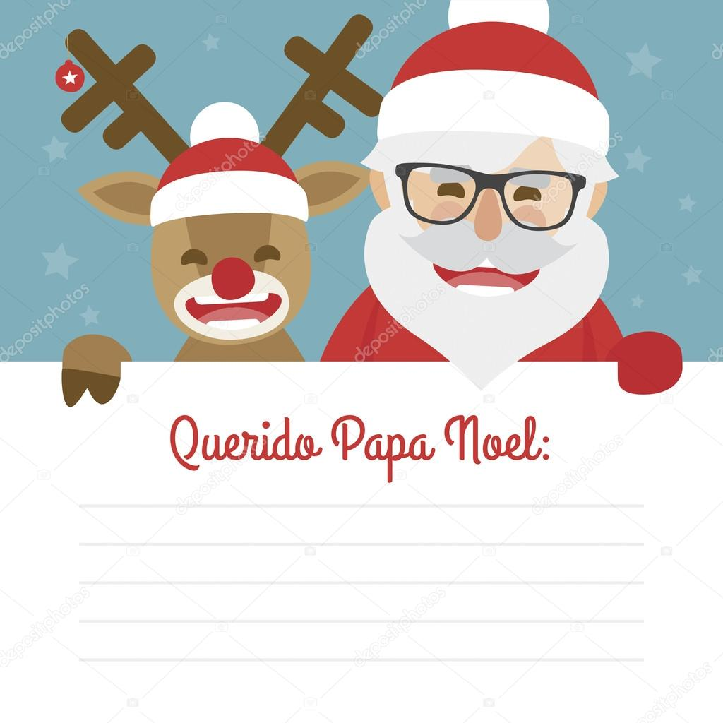 Uncategorized Santa Claus In Spanish letter merry christmas illustration of santa claus and red nosed reindeer on blue background dear written in spanish