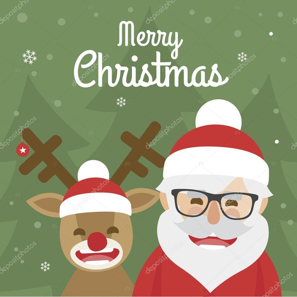 Vektor-Illustration von Weihnachten Santa Claus und rote Nase ...