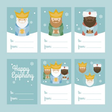 Collection of 6 Christmas card templates. Vector illustration. Template for Greeting Scrap booking, Congratulations, Invitations. Green. Happy Epiphany