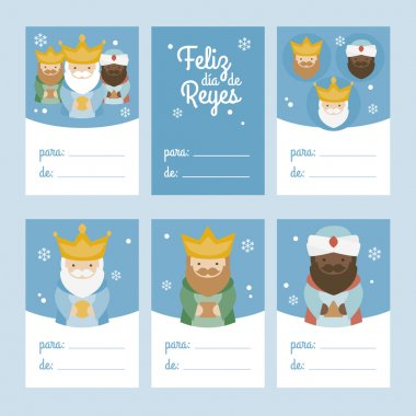 Collection of 6 Christmas card templates. Vector illustration. Template for Greeting Scrap booking, Congratulations, Invitations. Blue. Happy Epiphany written in Spanish