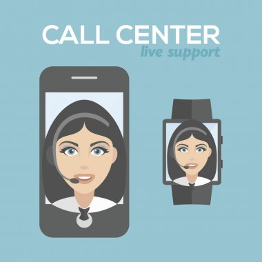 Call center pretty Woman avatar set. Client services and communication, customer support, phone assistance, information, solutions. smart phone and smart watch live support