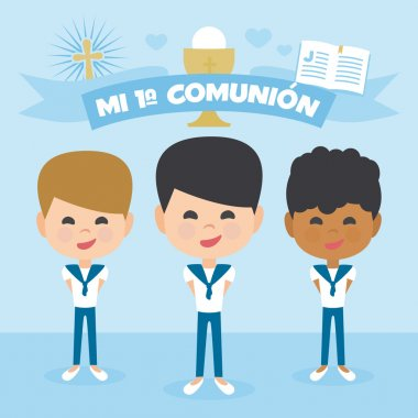 A perfect set First Communion. Group of children of different ethnicities making first communion. Vector Element Set. Written in Spanish
