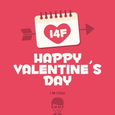 Happy Valentines day card. I love you baby stock vector