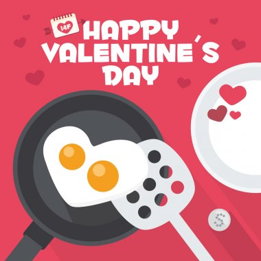 Happy Valentines day card. Cooking an Heart Shaped Fried Egg. Romantic breakfast