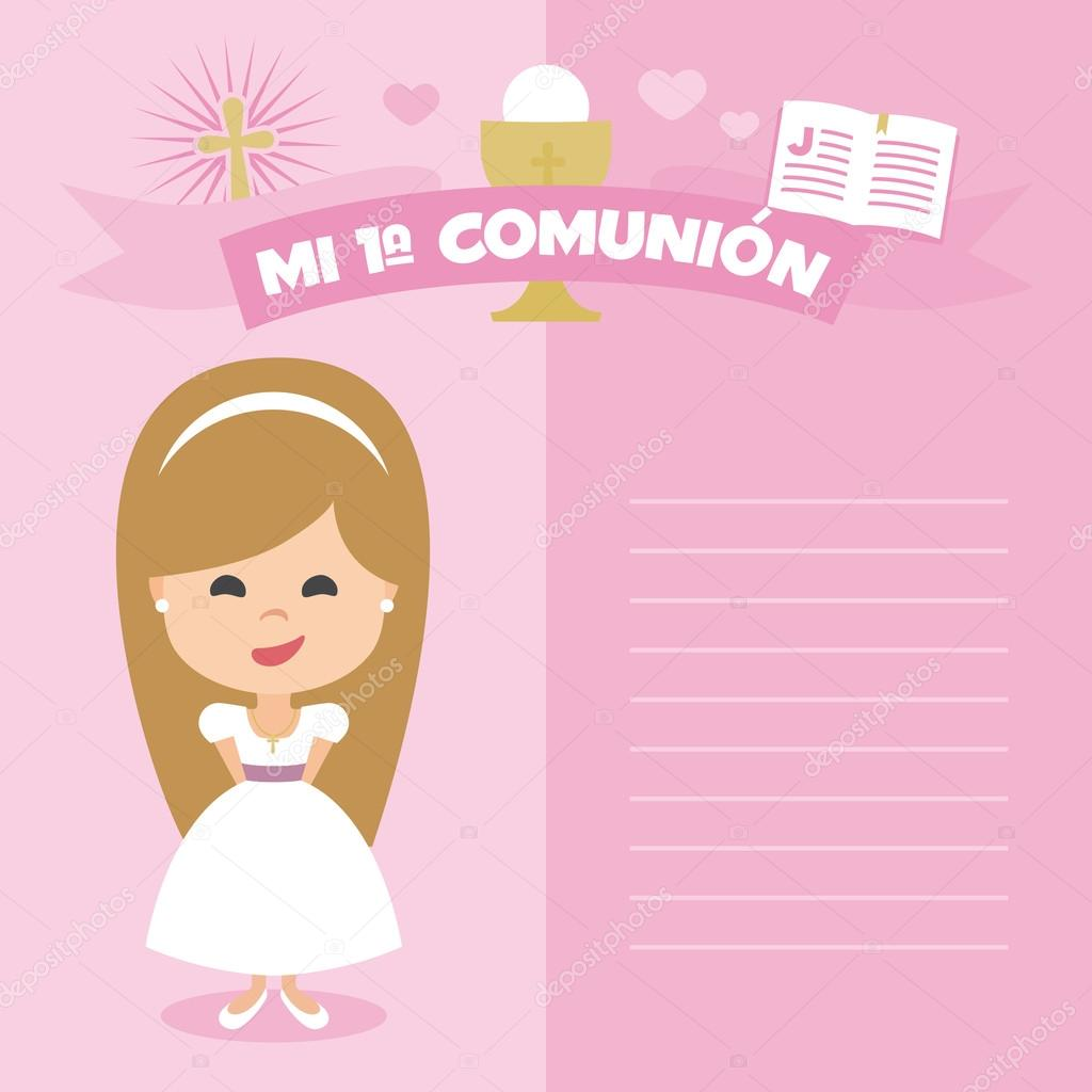 First Communion Invitation Template Blonde Girl On A Pink
