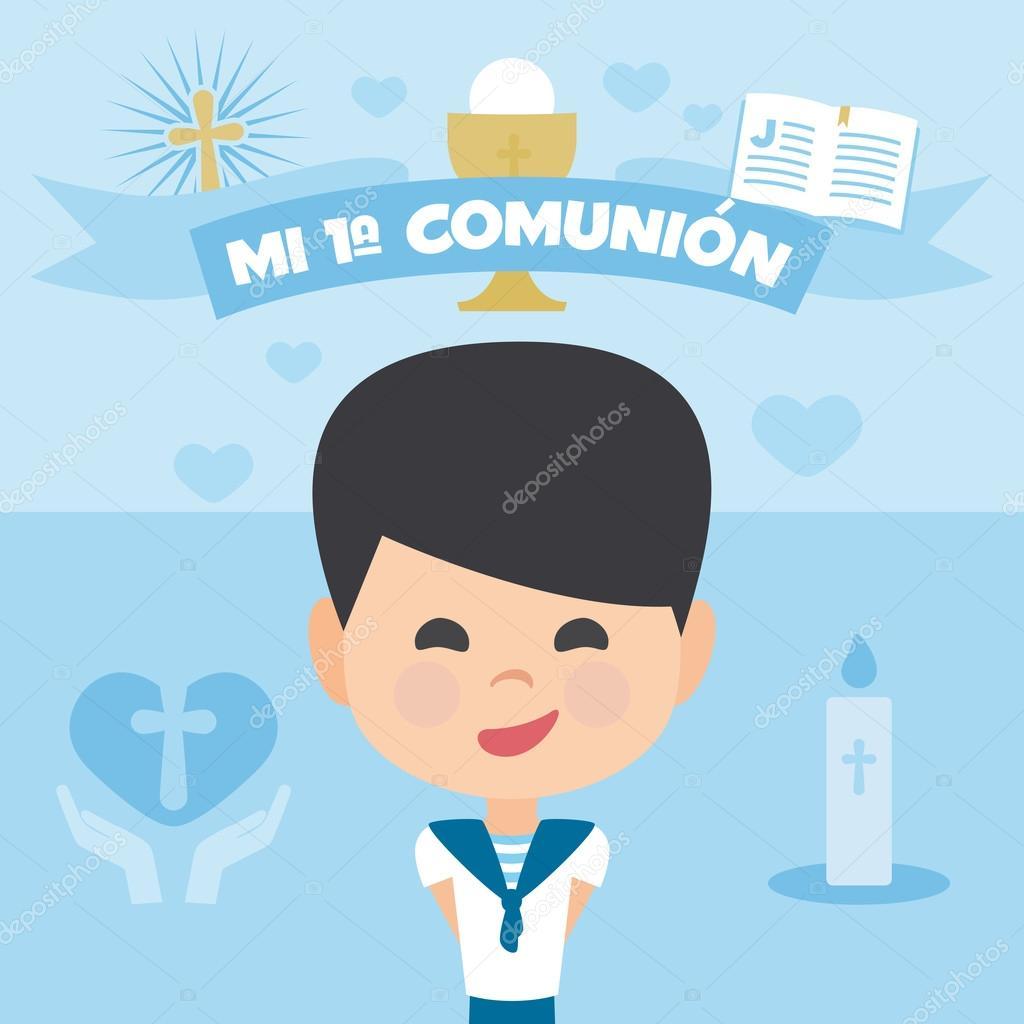 Erste Kommunion Einladung, Vorlage. Ein Junge auf einem blauen ...