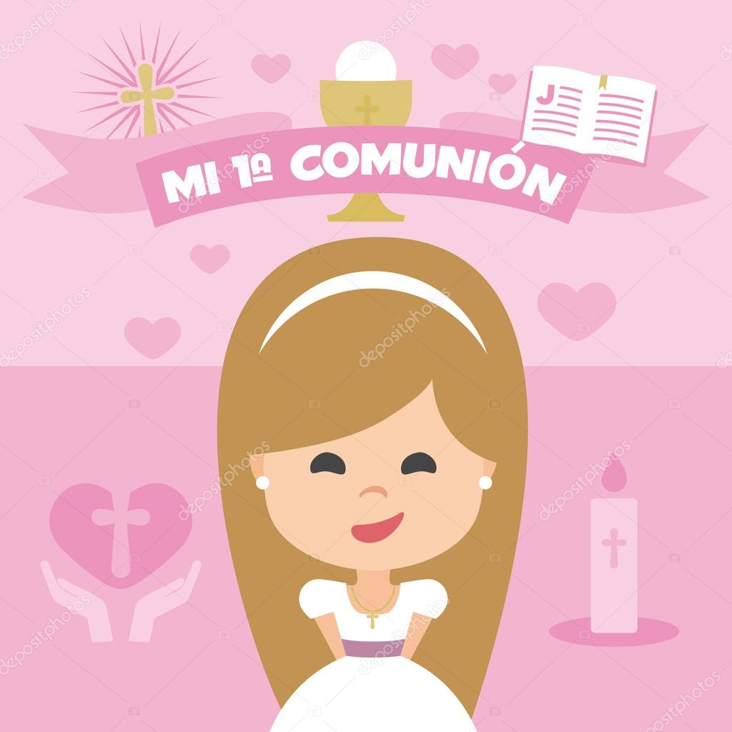 first communion invitation, template. blonde girl on a pink