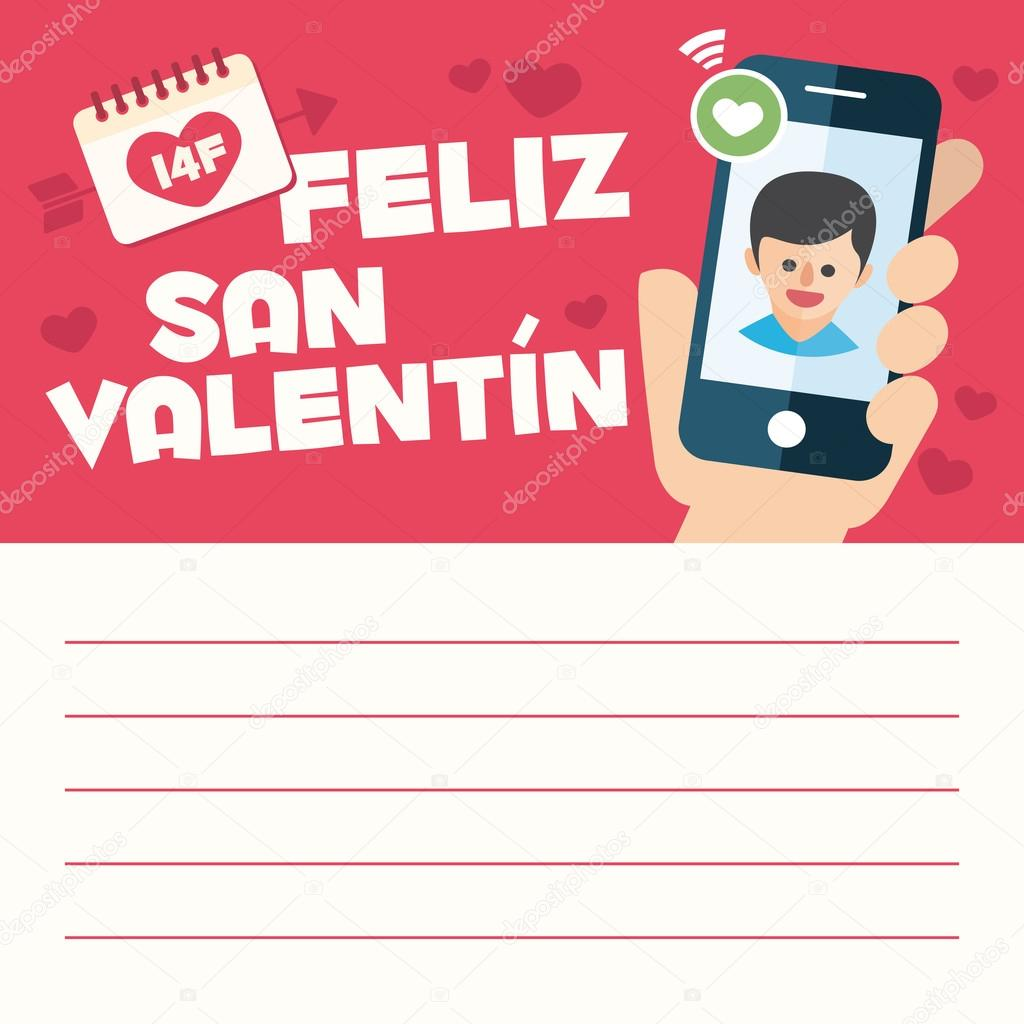 Happy Valentines Day Card Letter Hand With Boyfriend Mobile Call