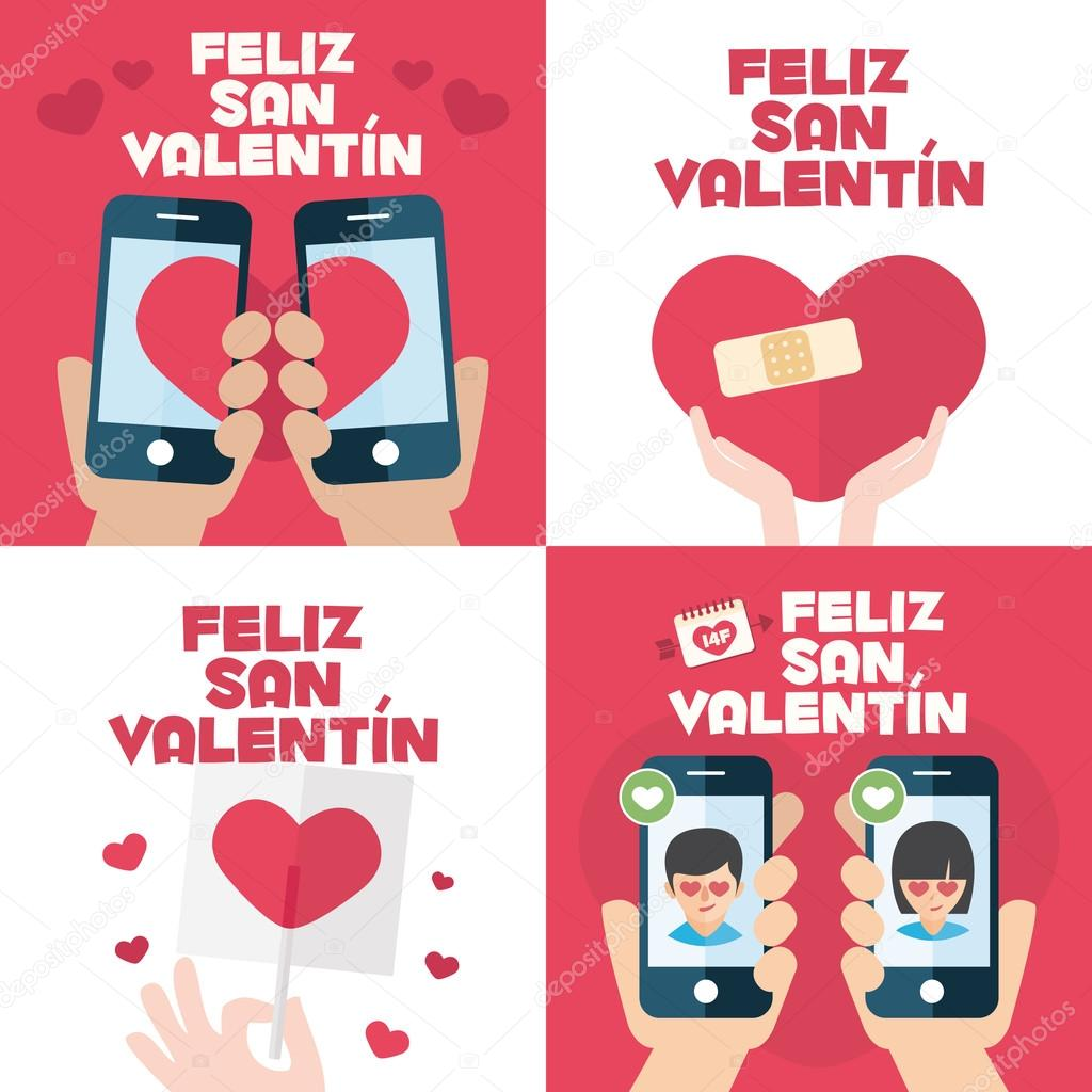 4 Happy Valentines Day Cards With Mobiles, Hearts, Band Aid, And Lollipop U2014
