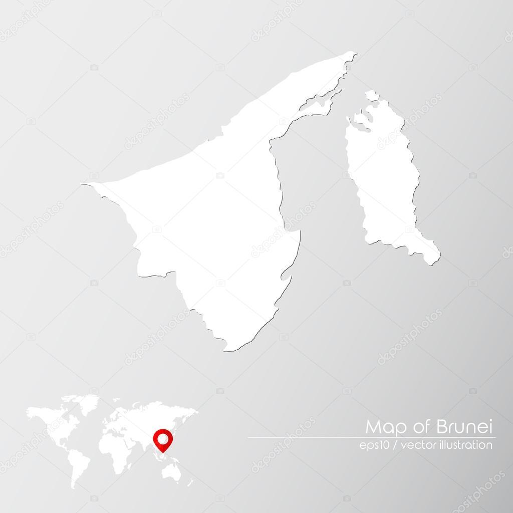 Brunei With World Map Stock Vector C Shekularaz 114960414