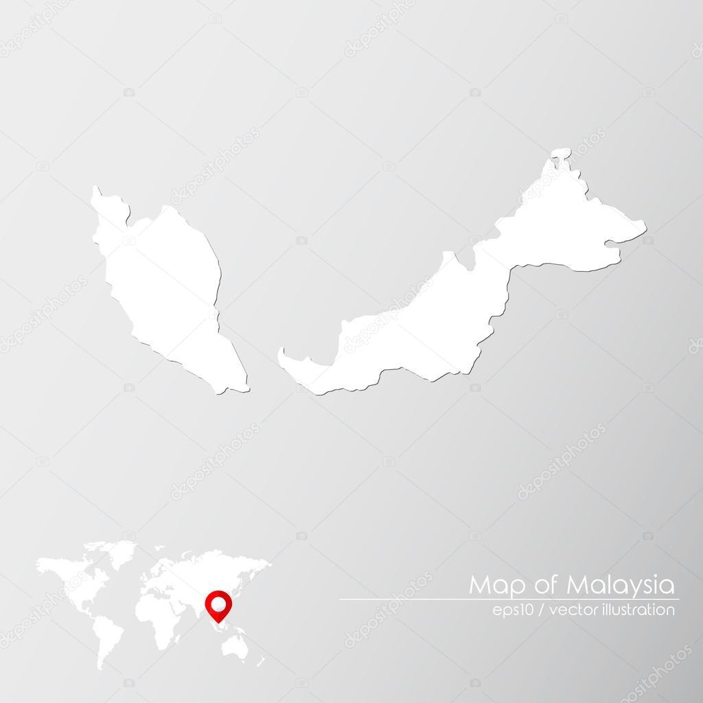 Malaysia With World Map Stock Vector C Shekularaz 114961566