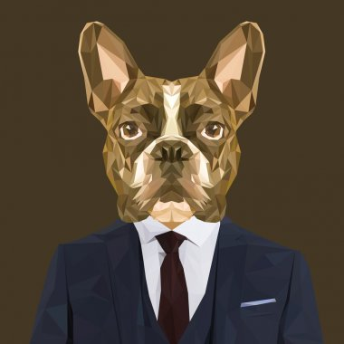 French bulldog animal in suit