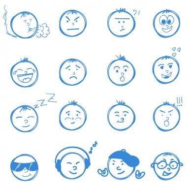 Set of  hand drawn emoticons or smileys each with a different facial expression and emotion, sketched outline on white