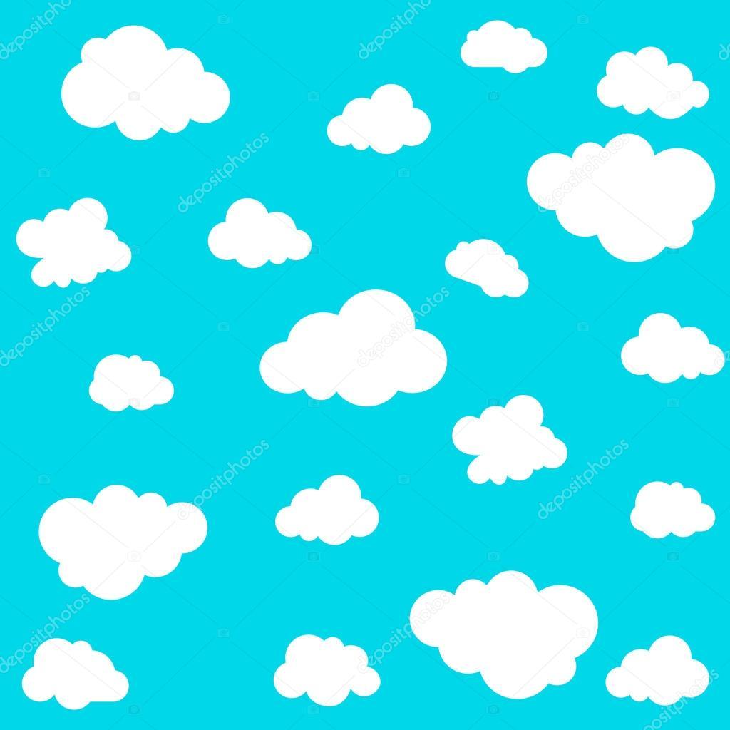 雲青い背景にシームレスなパターン。ベクトル イラスト — ストック