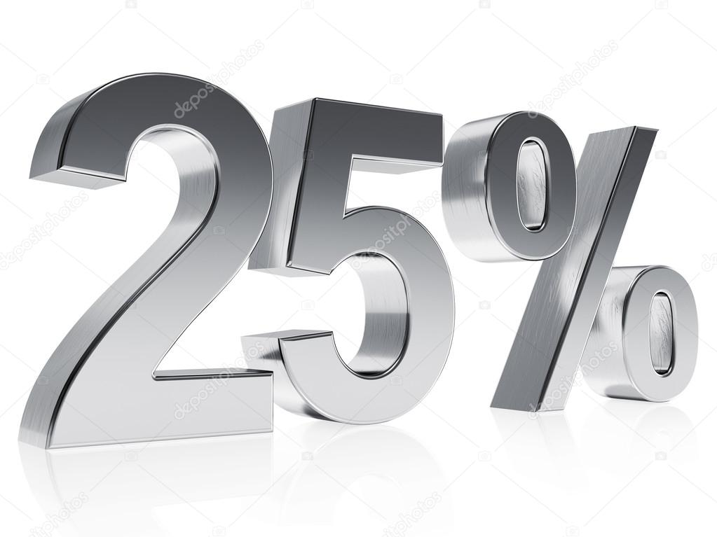 Realistic Silver Rendering Of A Symbol For 25 Discount Or Gain