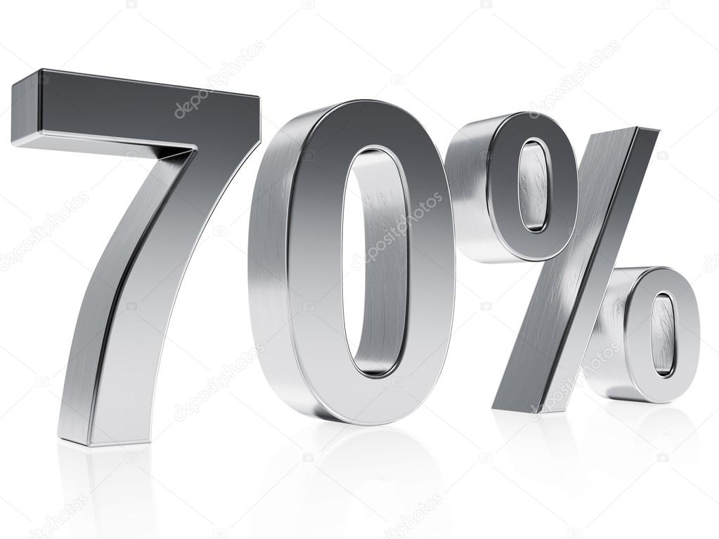 Realistic Silver Rendering Of A Symbol For 70 Discount Or Gain