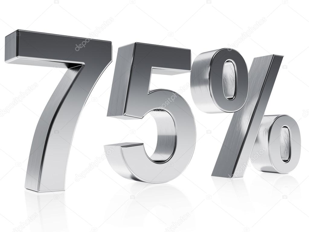Realistic Silver Rendering Of A Symbol For 75 Discount Or Gain