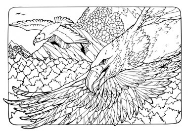 coloring page with eagles